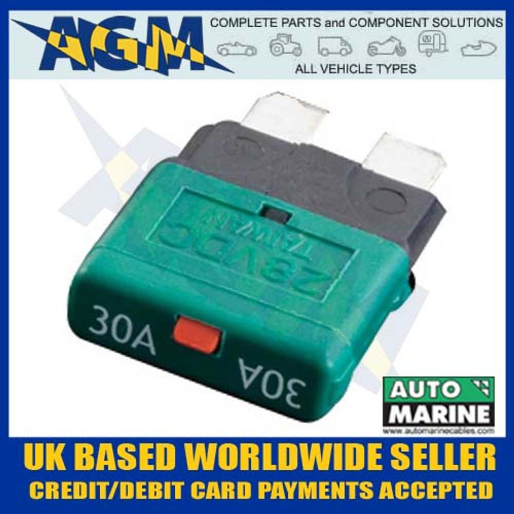 automarine, scb30, circuit, breaker, 30 amp, green, blade, fuse