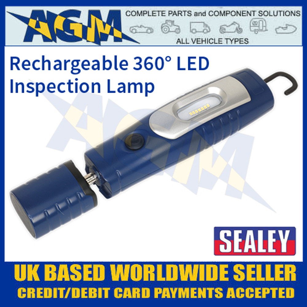 LED3602B Rechargeable 360° Inspection Lamp 7 SMD + 3W LED Blue Lithium-ion