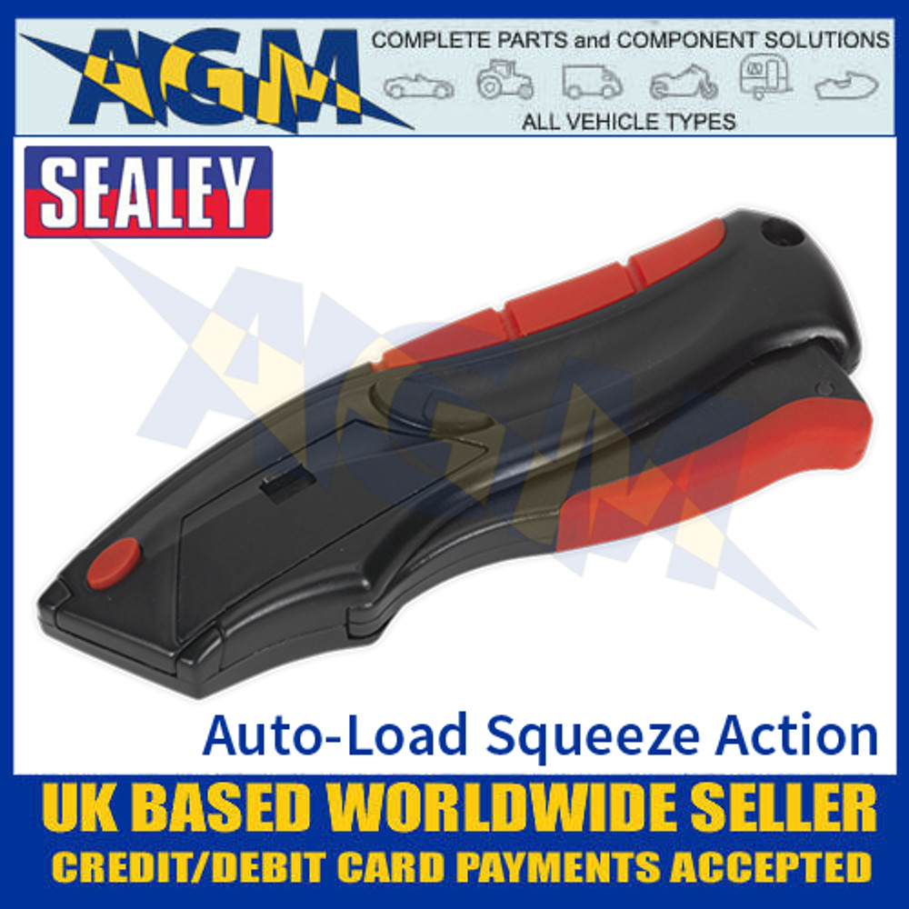 Sealey AK8607 Utility Knife Auto-Loading Squeeze Action Supplied with 6 Blades - Blade In