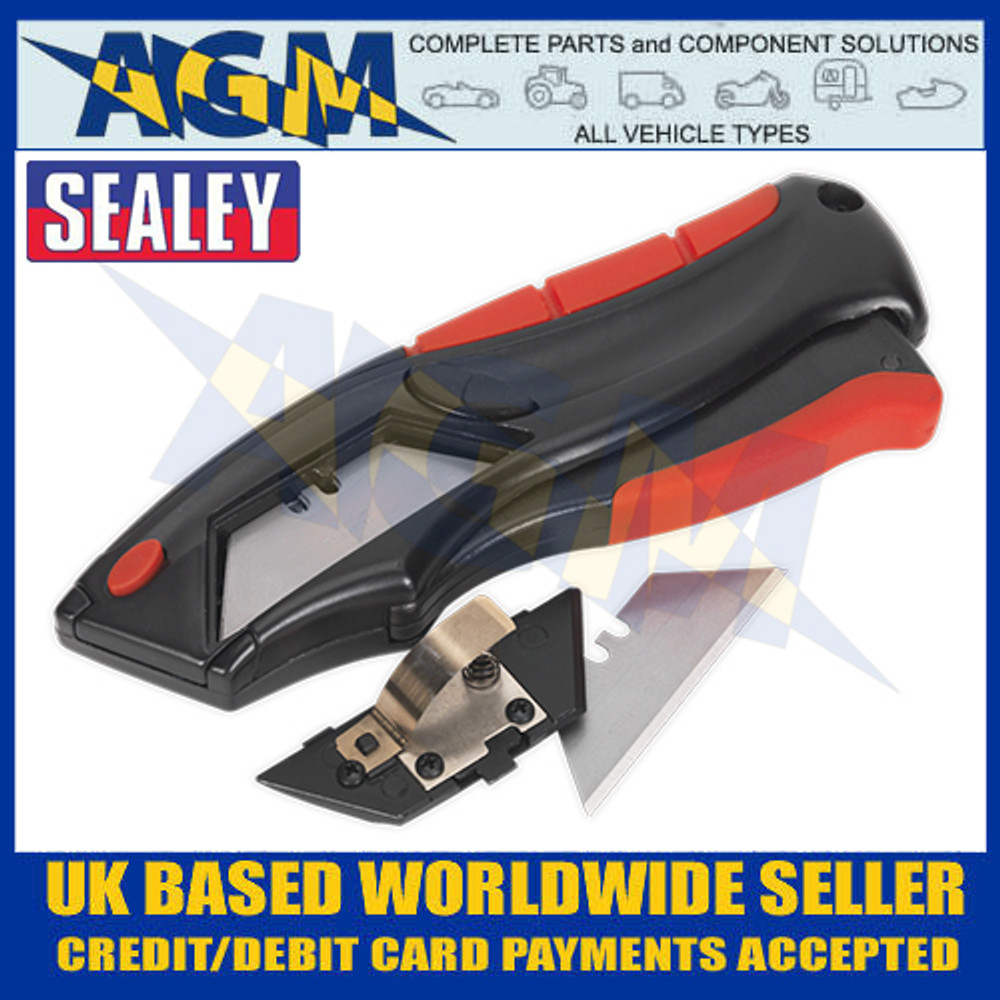 Sealey AK8607 Utility Knife Auto-Loading Squeeze Action Supplied with 6 Blades - Blade Compartment