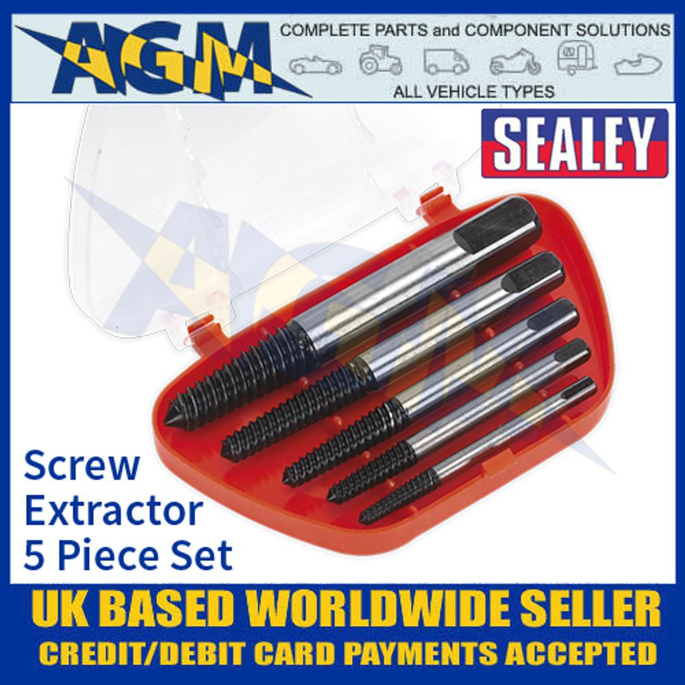 Sealey AK722 Screw Extractor Set 5 Piece Set Helix Type