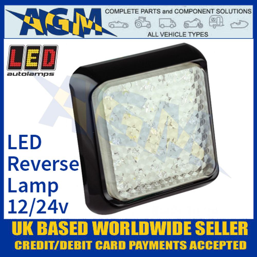 LED Autolamps 100WME Square White LED Reversing Lamp, 12/24v
