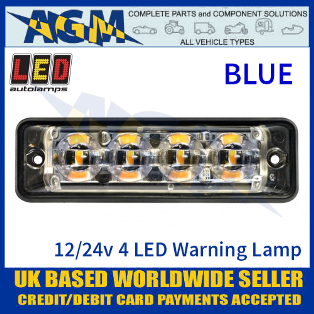 LED Autolamps SSLED4DVB Super-Slim Blue 4 Block LED Warning Lamp