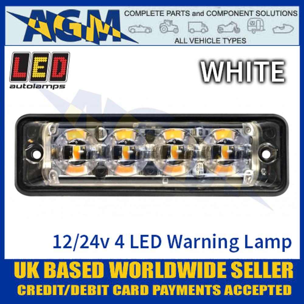 LED Autolamps SSLED4DVW Super-Slim White 4 Block LED Warning Lamp