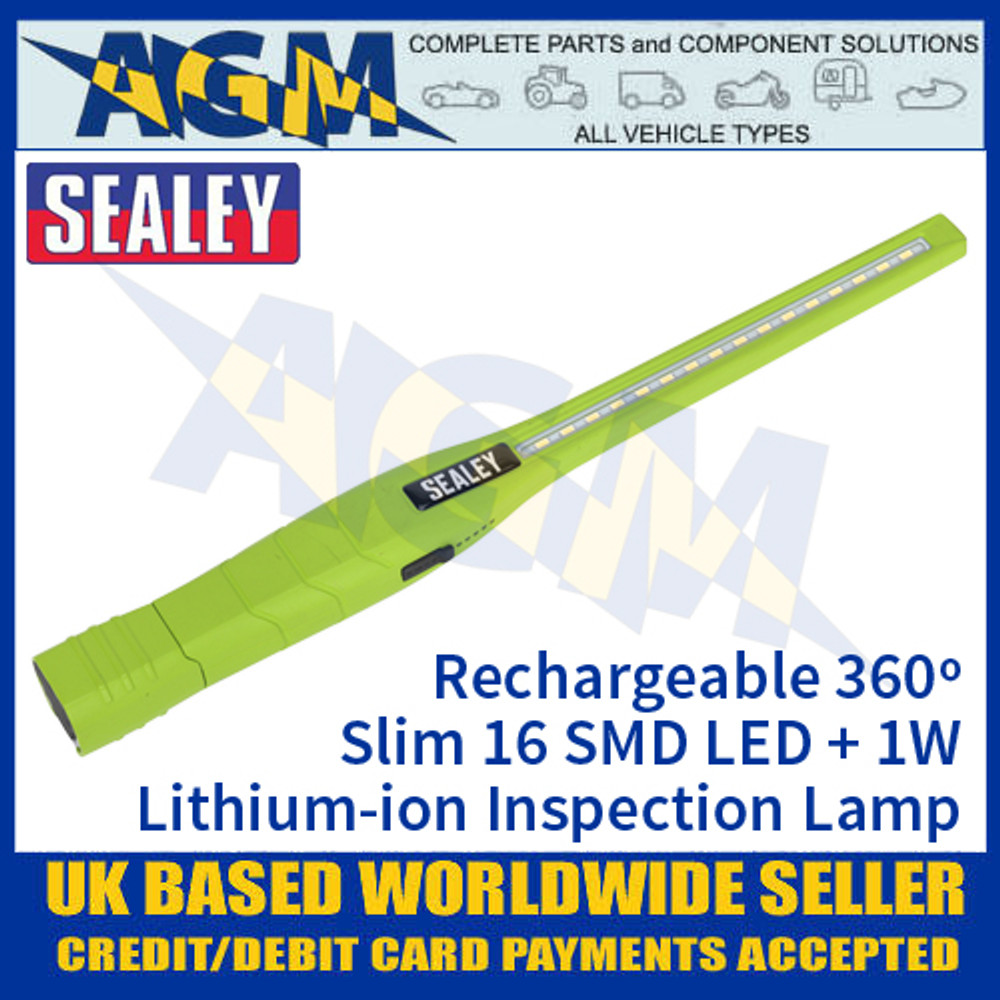 Sealey Rechargeable 360º Slim Inspection Lamp 16 SMD LED + 1W LED - Green