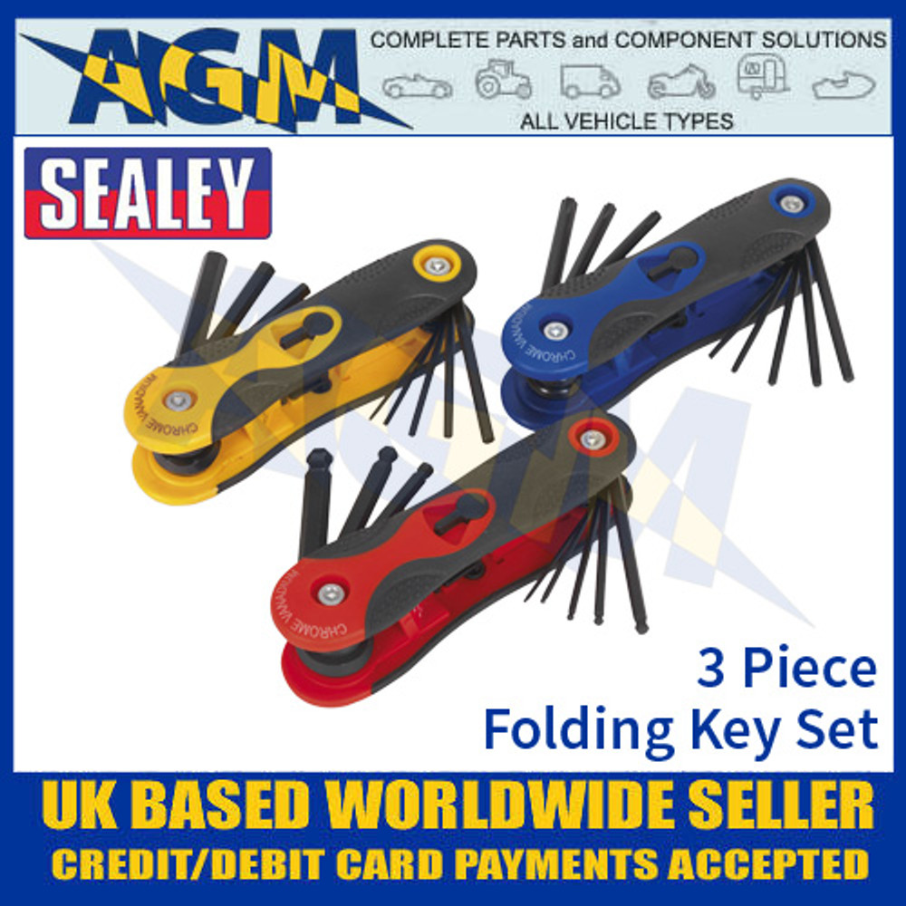 Sealey S01072 3 Piece Folding Key Set, HEX, Ball-End Hex & TRX-Star