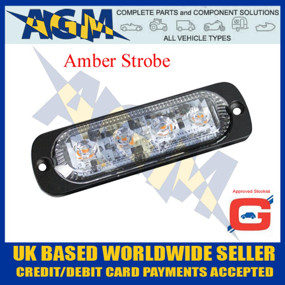 Guardian LED13A Amber 4 Led Warning Light 10-30 Volt
