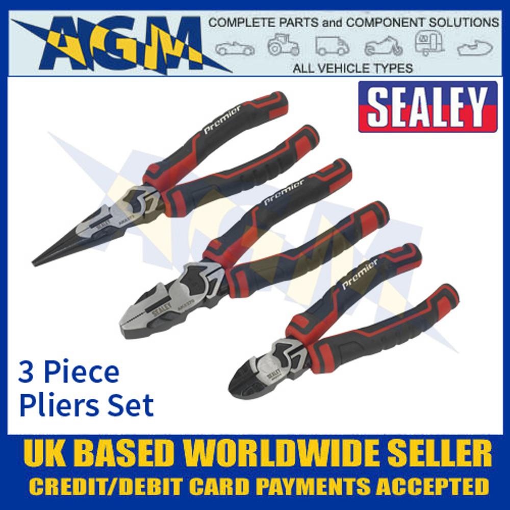 Sealey AK8376 High Leverage Premier Pliers Set, 3 Piece, Pliers Set