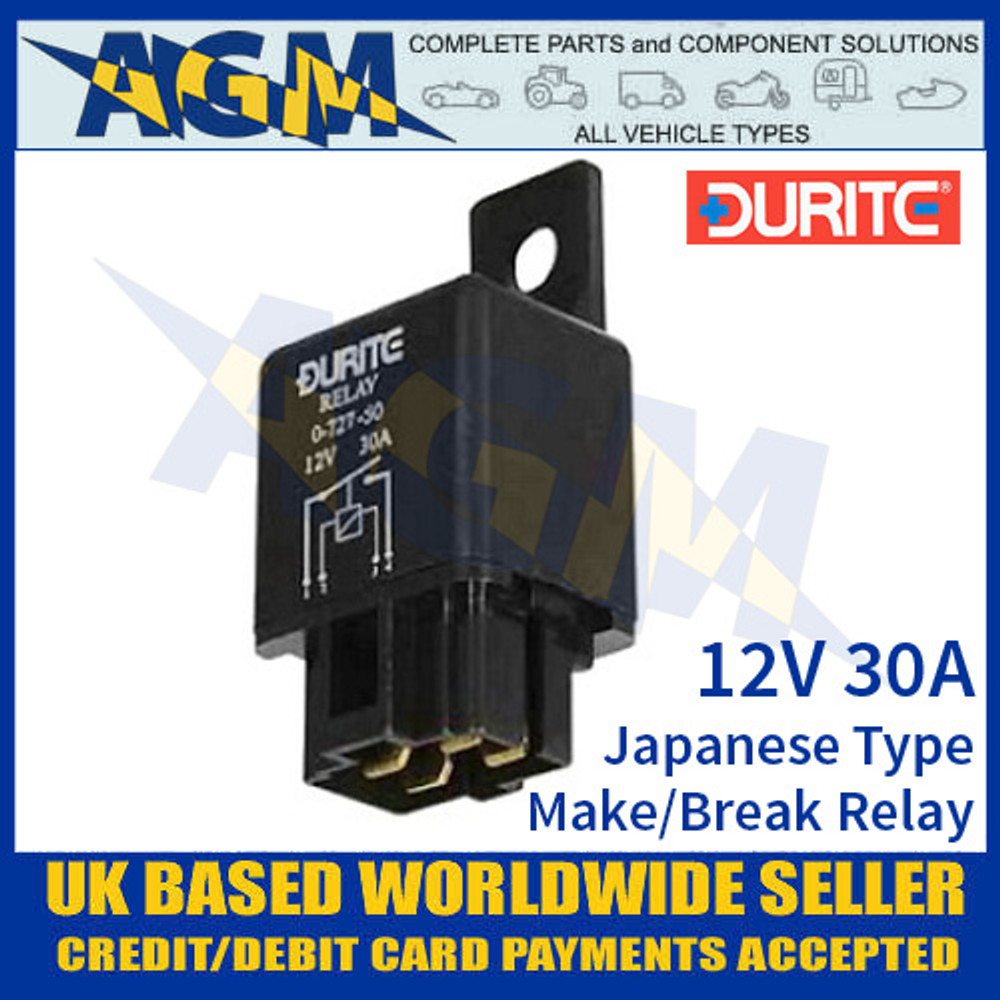 0-727-50 Durite 12V 30A Japanese Type Make and Break Relay