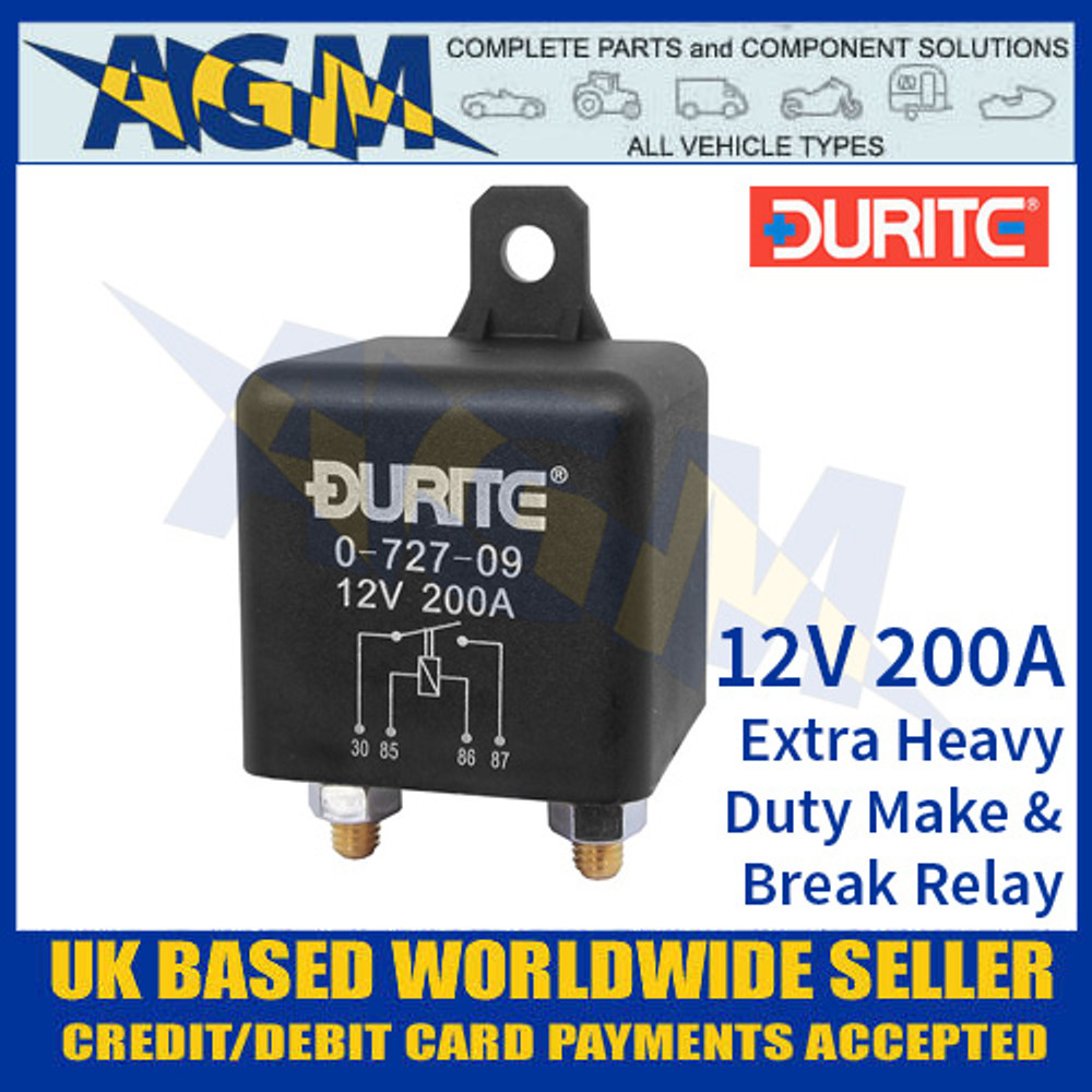0-727-09 Durite 12V 200A Extra Heavy Duty Make and Break Relay