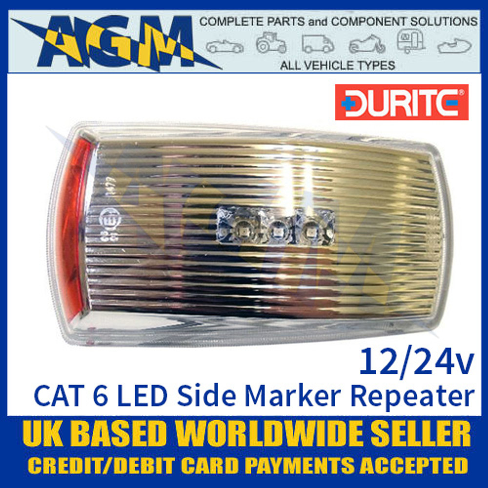 0-170-40 Durite CAT 6 LED Side Marker Light Lamp Repeater, 12/24V