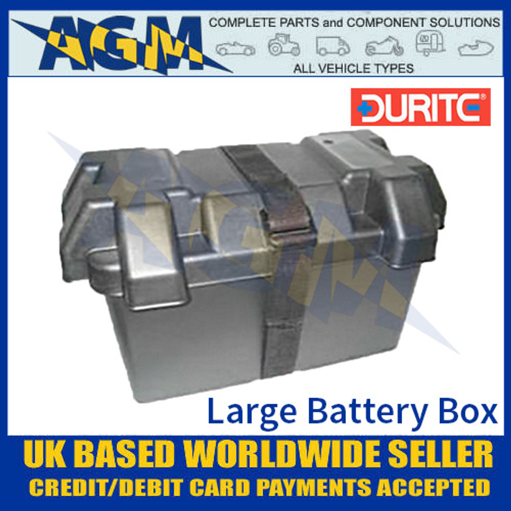 0-087-45 Durite Large Black Moulded Plastic Battery Box, 325 x 185 x 200mm