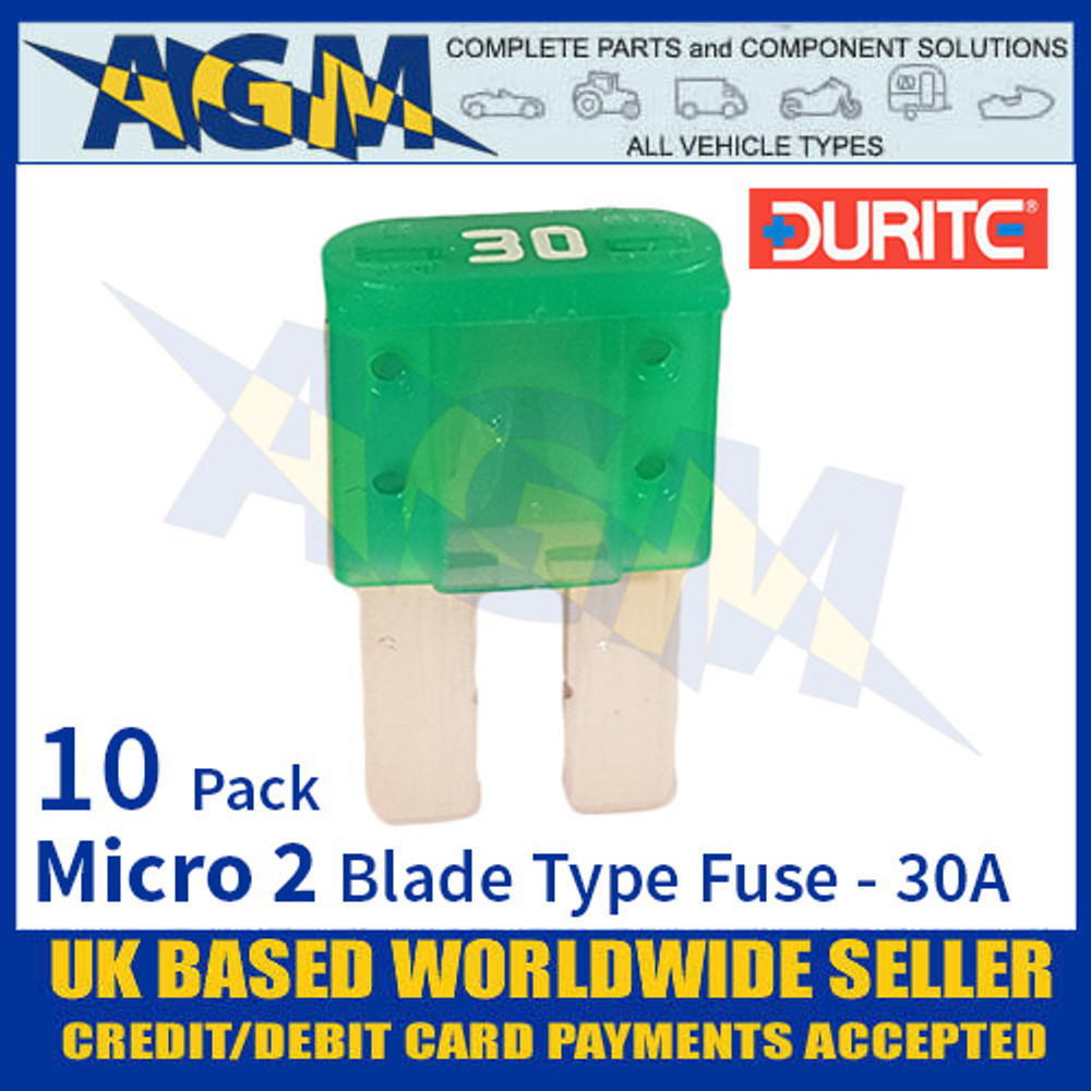 0-376-83 Durite Micro 2 Blade Type Fuse, Green, 30 Amp, 10 Pack Micro 2 Fuses
