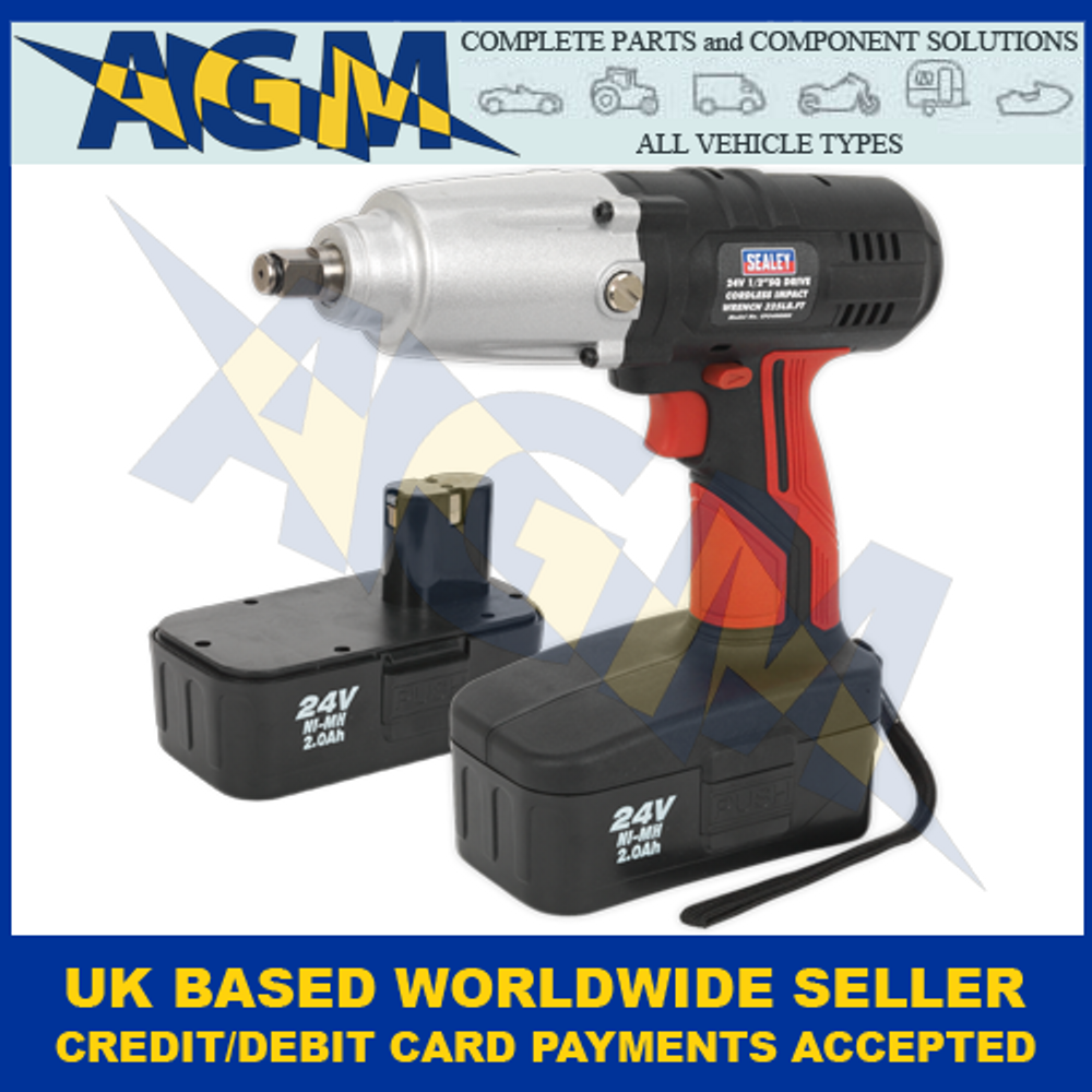 "Sealey CP2400MH, Cordless 1/2"" Sq Drive Impact Wrench, 24v, With Two 2Ah Ni-Mh Batteries"