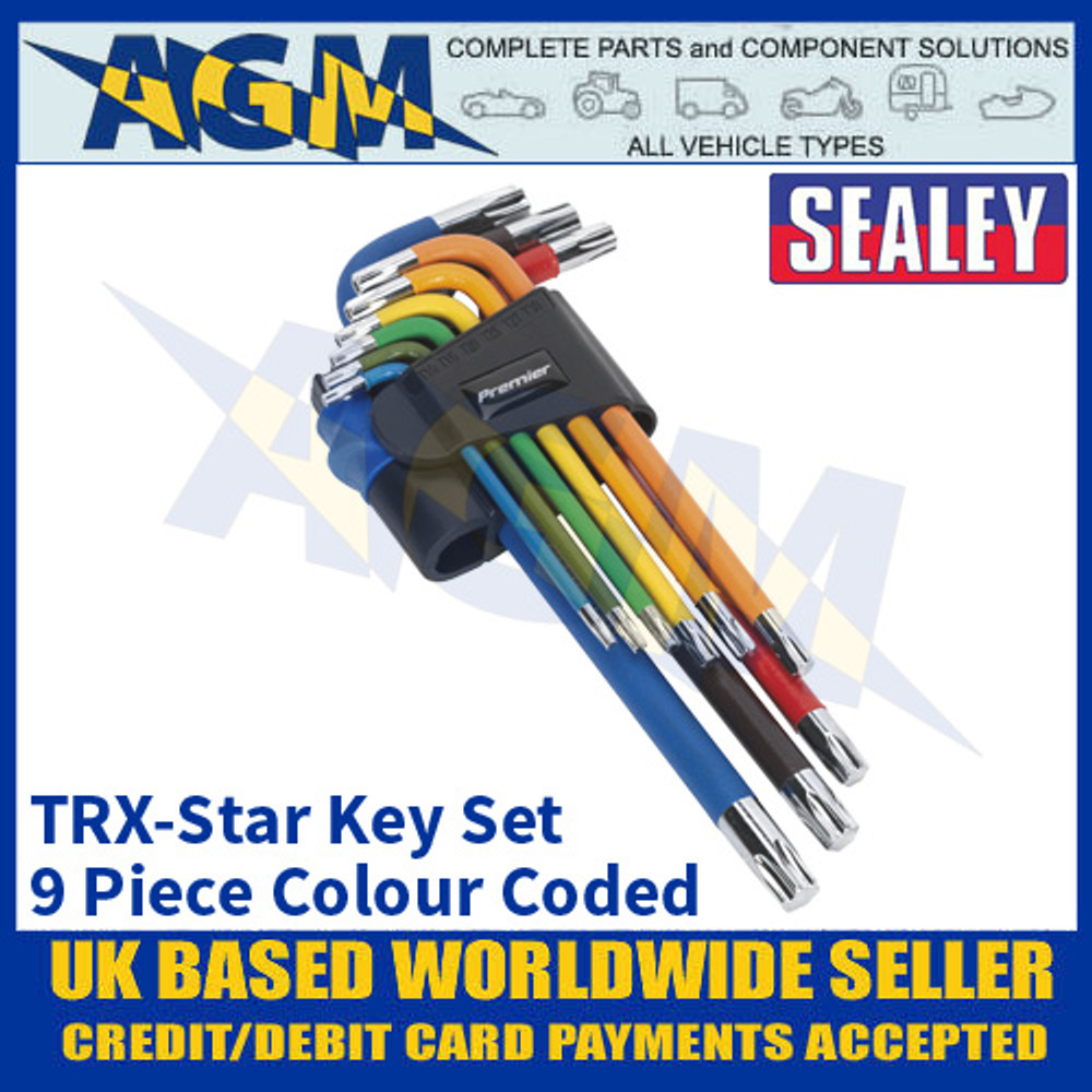 Sealey AK7193 TRX-Star Key Set, 9 piece Set, Colour Coded, Long