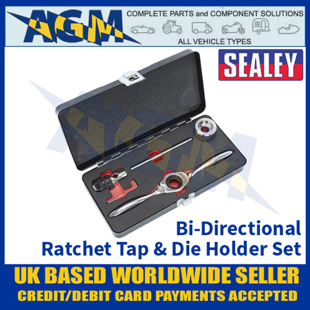 Sealey AK3027 Bi-Directional Ratchet Tap and Die Holder Set, 5 Pieces