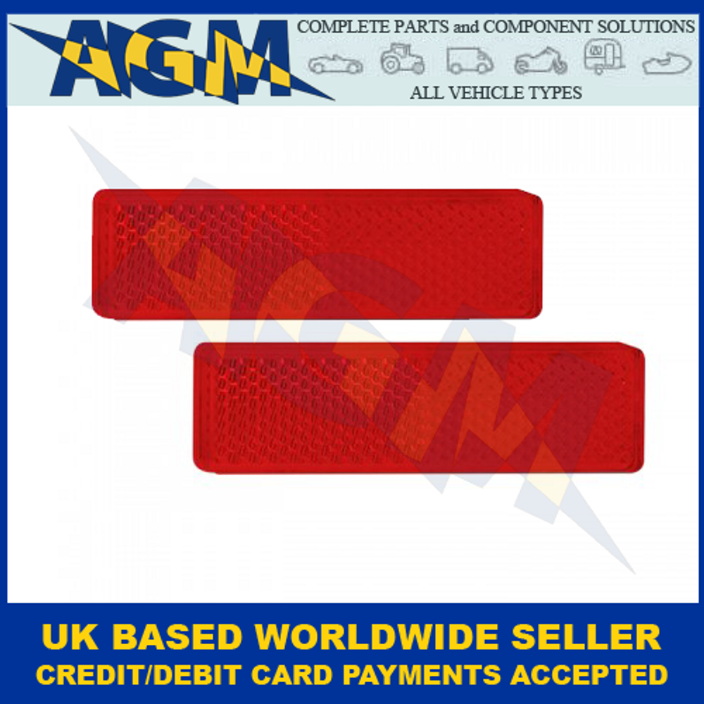 Led Autolamps 9020R, Twin Pack Of Red Rectangular Rear Reflectors