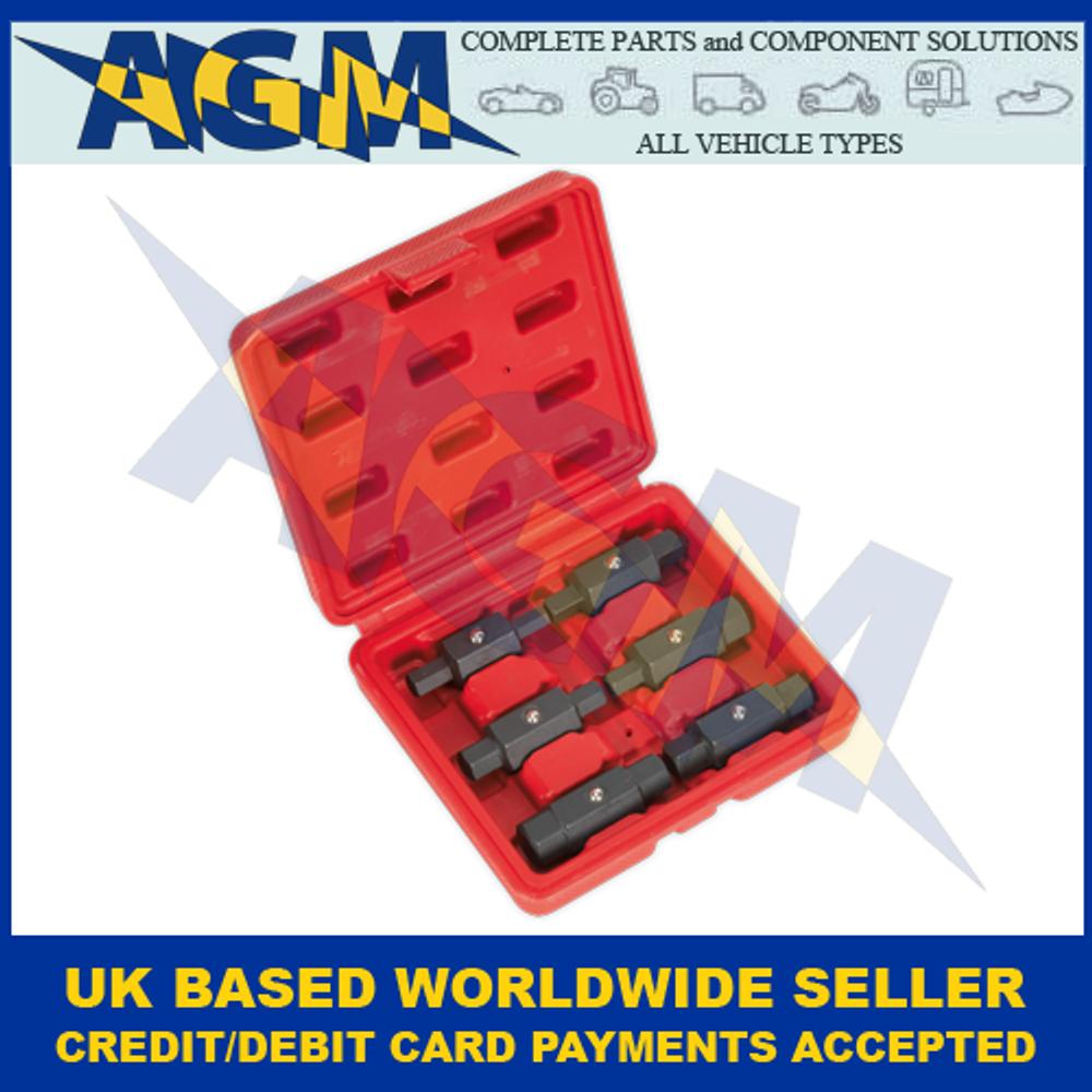 Sealey AK658, Oil Drain Six Piece, Double End Plug Key Set