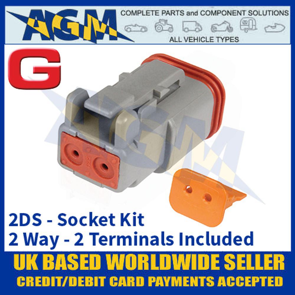 Deutsch 'DT' Series Connector - 2DS Socket Kit - 2 Way - 2 Terminals Included