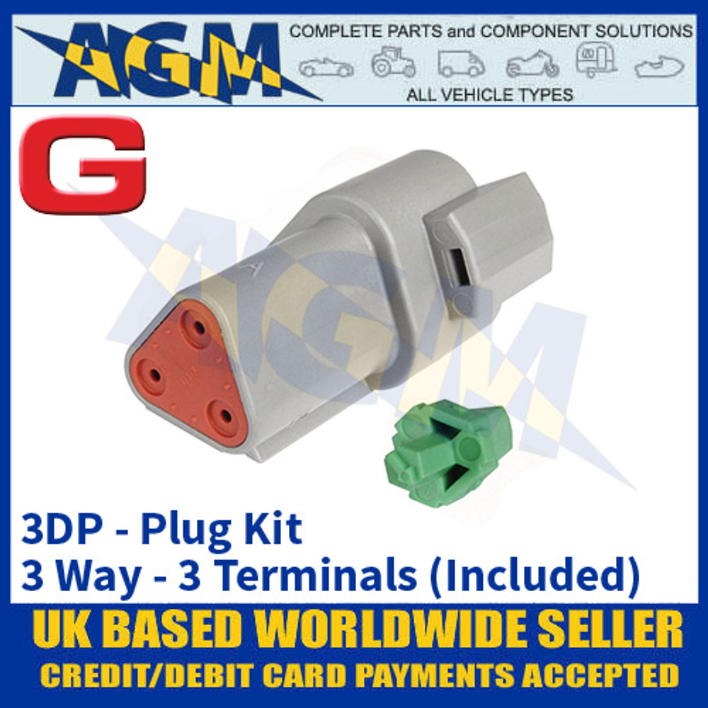 Deutsch 'DT' Series Connector - 3DP Plug Kit - 3 Way - 3 Terminals Included
