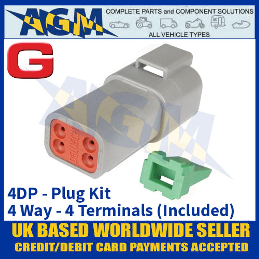 Deutsch 'DT' Series Connector - 4DP Plug Kit - 4 Way - 4 Terminals Included