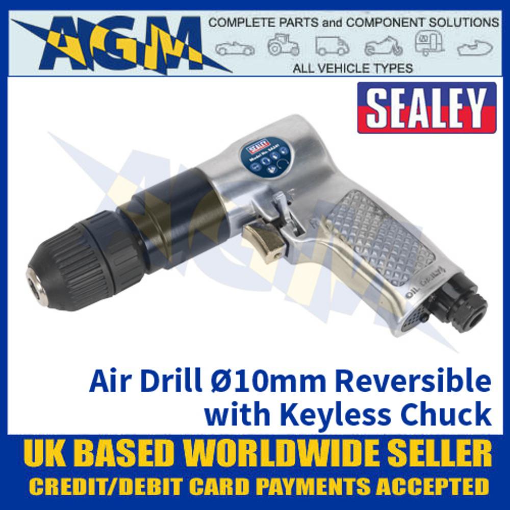 Sealey SA241 Air Drill Ø10mm Reversible with Keyless Chuck, Air Drill, Air Tools