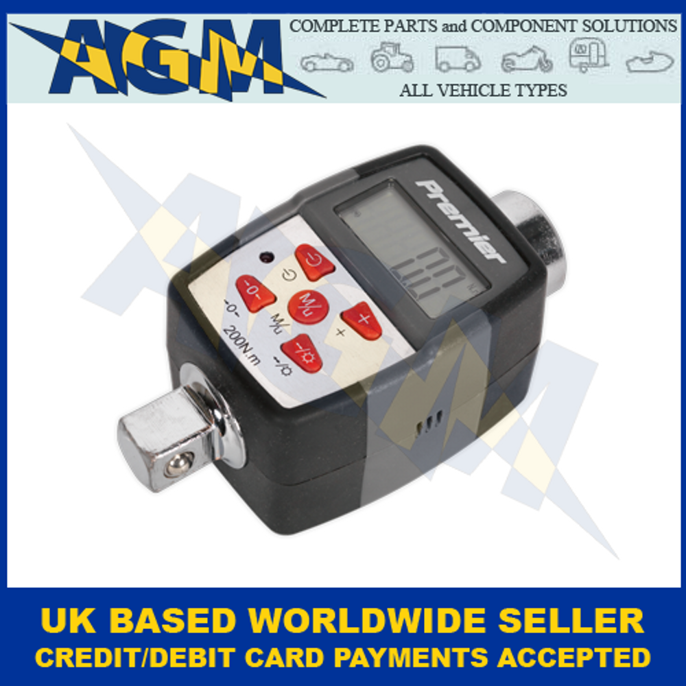 Sealey Premier STW291, 20-200Nm, 1/2-inch Square Drive Torque Adaptor, Digital With Angle Function
