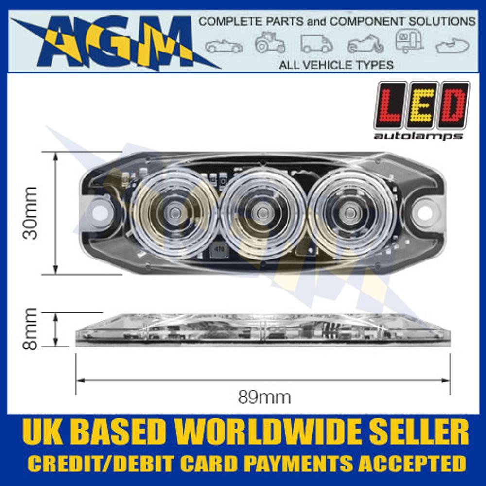 LED Autolamps LPR103DVR Low Profile 3-LED Warning Lamp - Red - 12/24V