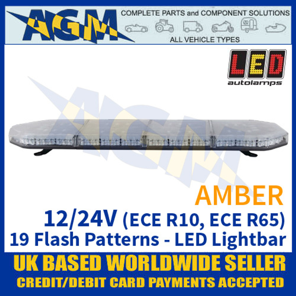 LED Autolamps EQPLB964R65AM Amber Lightbar - 12/24V - 19 Flash Patterns