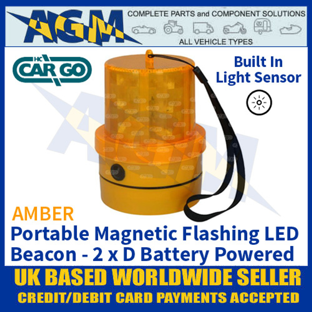 HC CARGO 172221 Amber LED Beacon, Portable, Magnetic, Battery, Light Sensor
