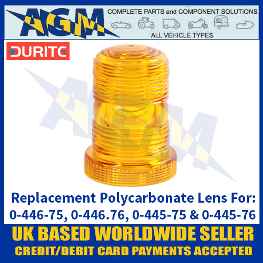 Durite 0-446-97 Polycarbonate Amber Lens for Mini Xenon + LED Beacons