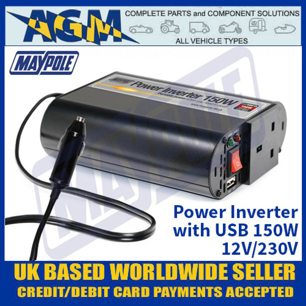 Maypole MP56015 Power Inverter with USB 150W - 12V/230V
