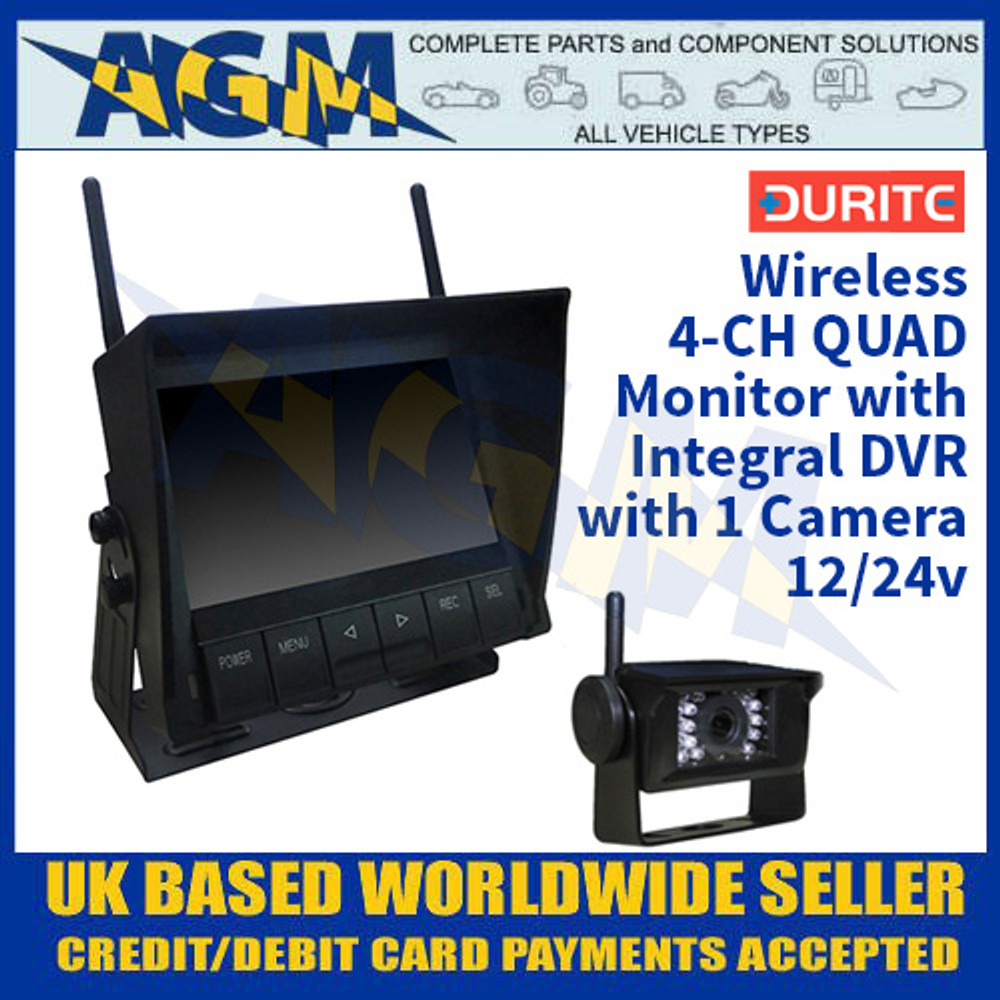 Durite 0-775-61 4-CH QUAD Monitor with Integral DVR with 1 Camera