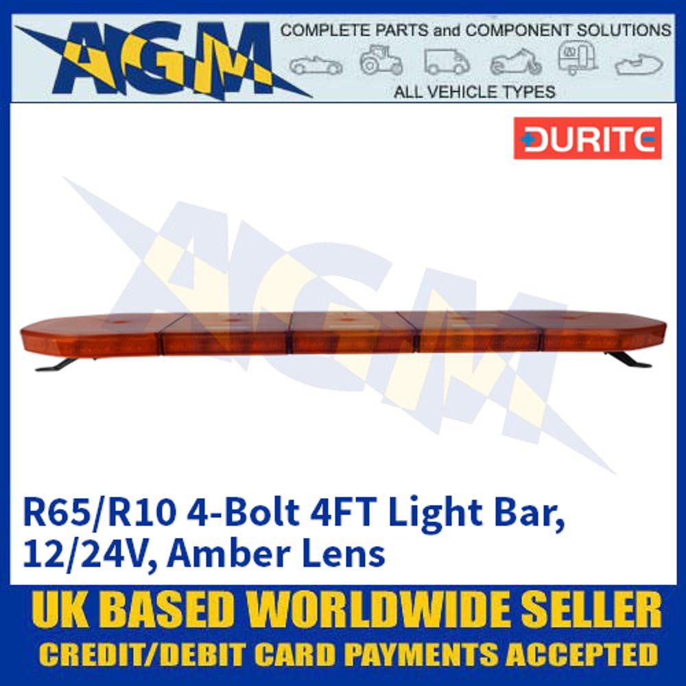 Durite 0-443-49 R65/R10 4-Bolt 4FT Light Bar - 12/24V, Amber Lens
