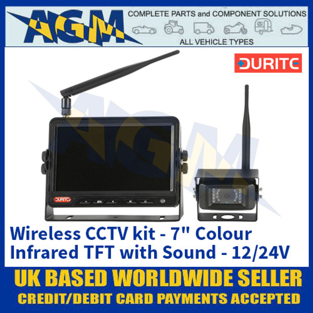 """Durite 0-775-39 Wireless CCTV kit - 7"""" Colour Infrared TFT with Sound - 12/24V"""