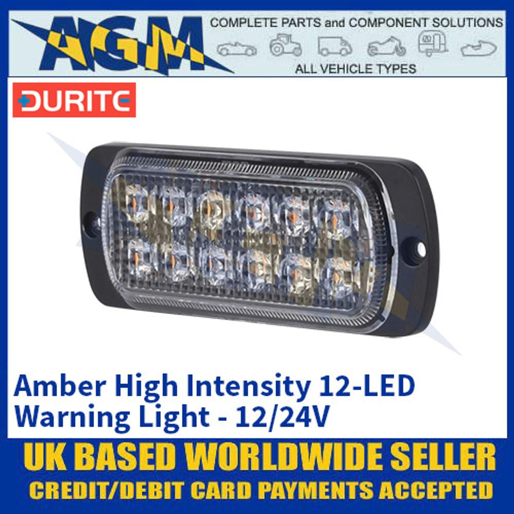Durite 0-441-74 Amber High Intensity 12-LED Warning Light - 12/24V