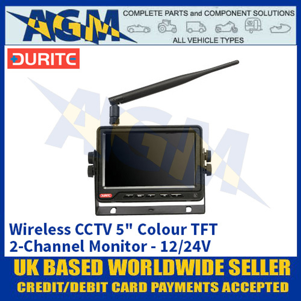 "Durite 0-775-42 Wireless CCTV 5"" Colour TFT 2-Channel Monitor - 12/24V"