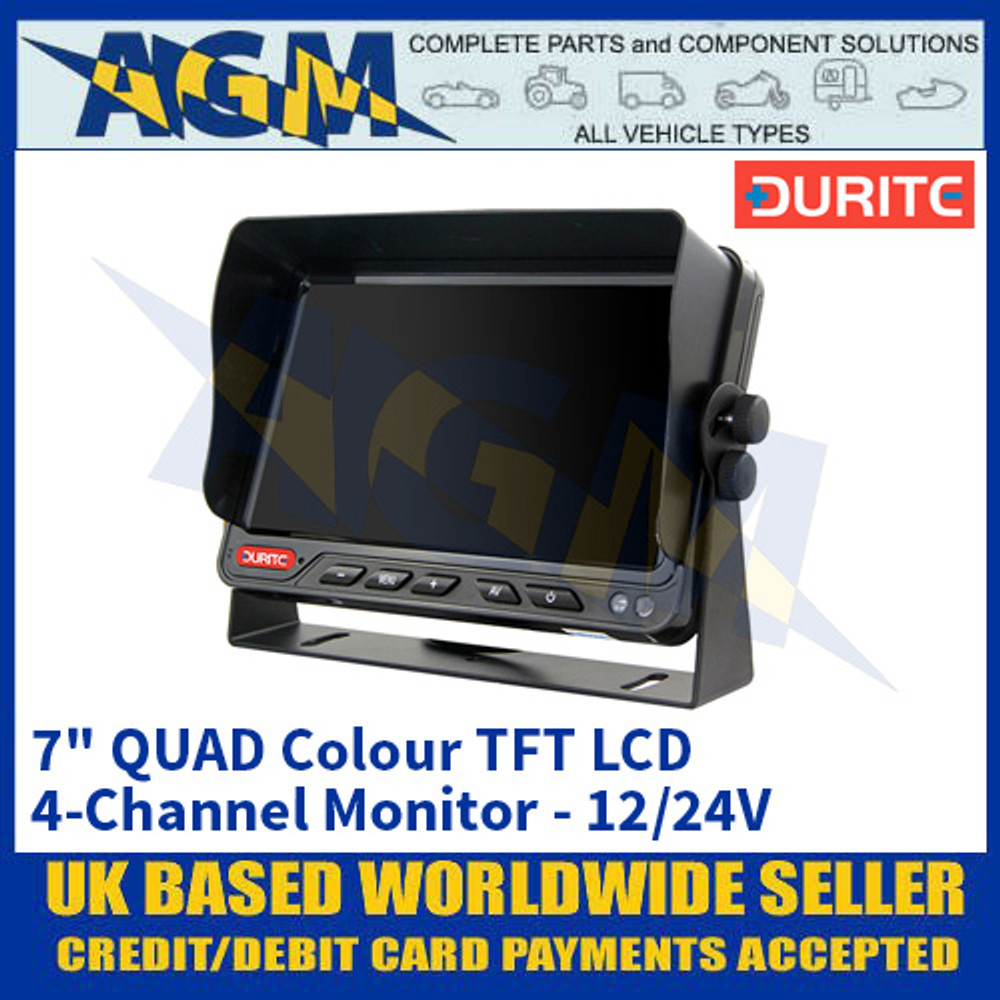 "Durite 0-775-35 7"" QUAD Colour TFT LCD 4-Channel Monitor - 12/24V"