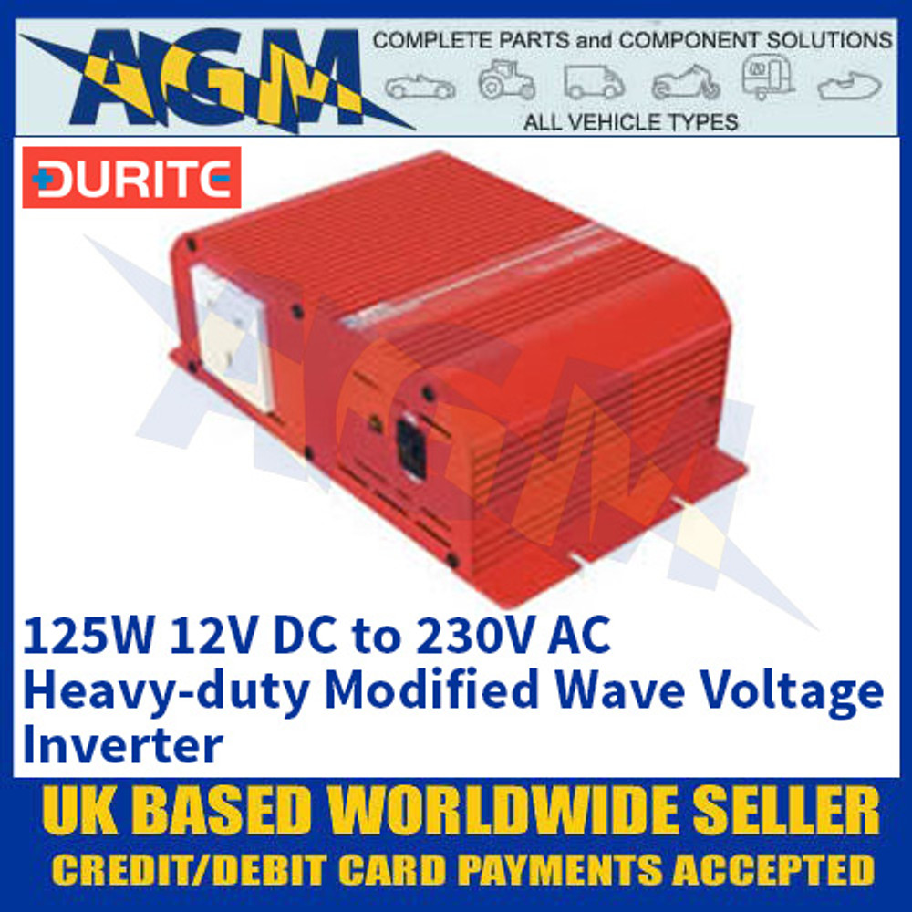 Durite 0-856-01 125W 12V DC to 230V AC Heavy-duty Modified Wave Voltage Inverter