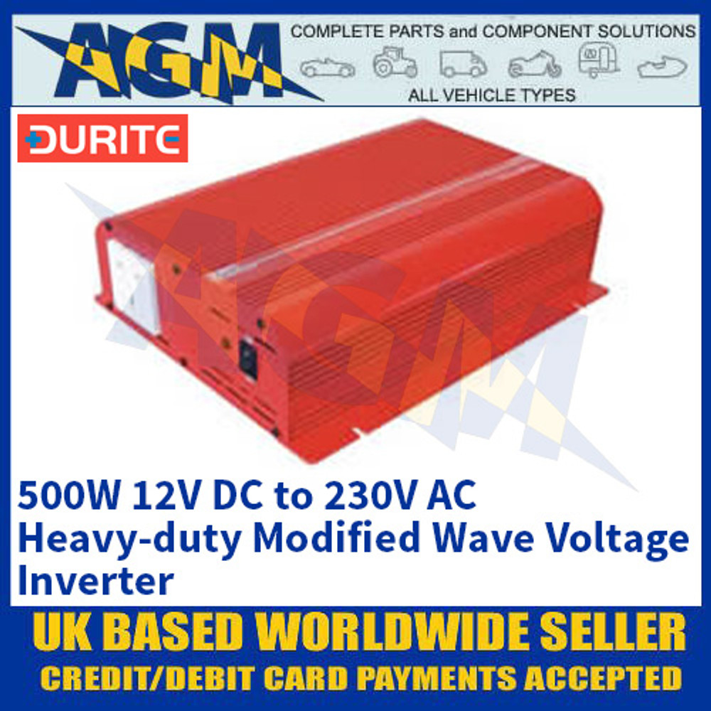 Durite 0-856-05 500W 12V DC to 230V AC Heavy-duty Modified Wave Voltage Inverter