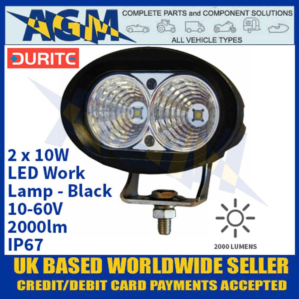 Durite 0-420-61 2 x 10W LED Work Lamp - Black, 10-60V, 2000lm, IP67