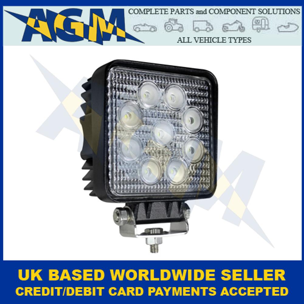 LED Autolamps 11027BM, Square, 9 x 3W, LED, Work Lamp