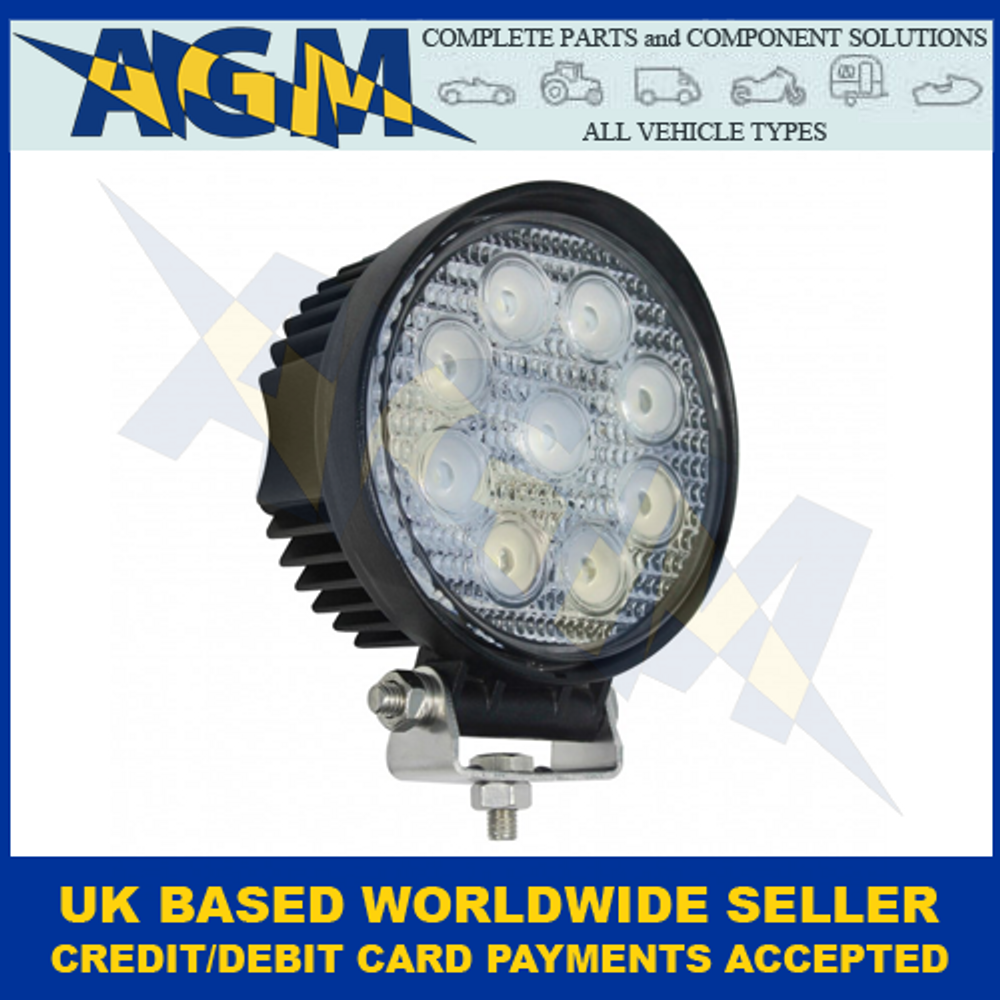 LED Autolamps 11127BM, Round, 9 x 3W LEDs, Work Lamp, 12/24 Volt