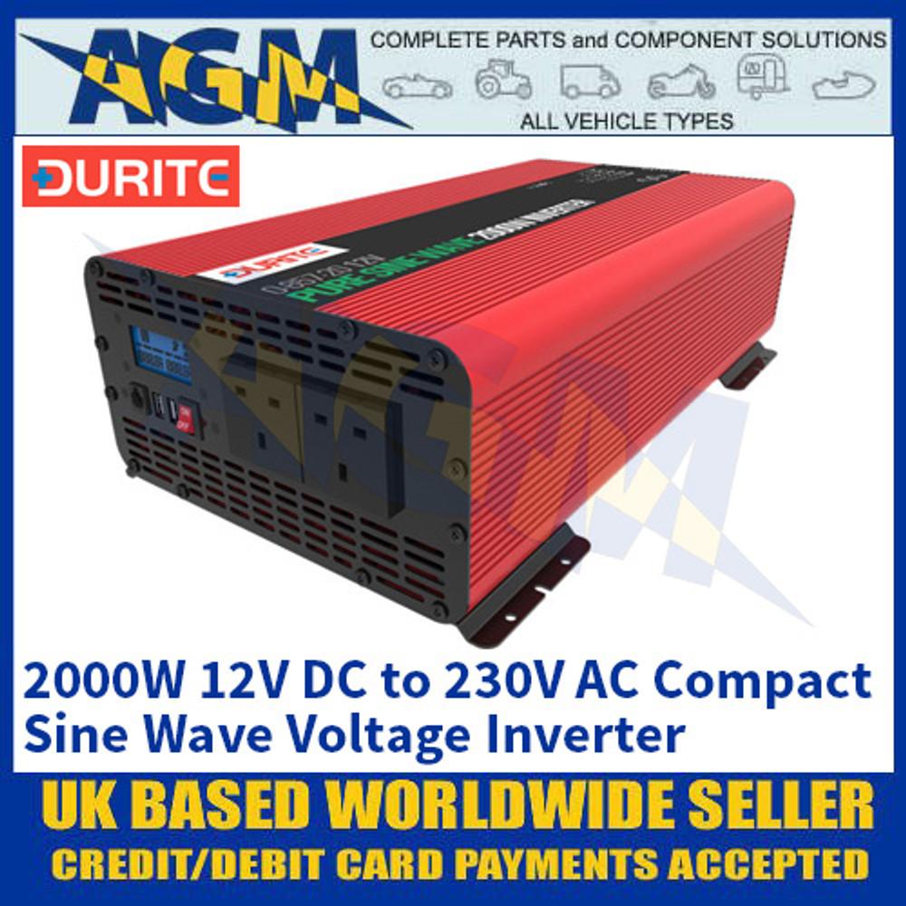 Durite 0-857-20 2000W 12V DC to 230V AC Compact Sine Wave Voltage Inverter