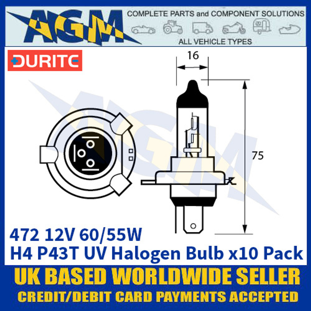 Durite 8-004-72 472 12 Volt 60/55 Watt H4 P43T UV Halogen Bulb - x10 Pack