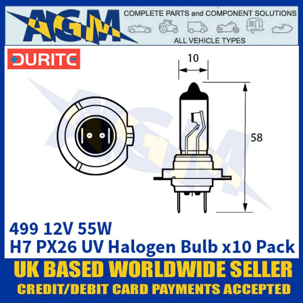 Durite 8-004-99 499 12 Volt 55 Watt H7 PX26D UV Xenon Bulb - x10 Pack