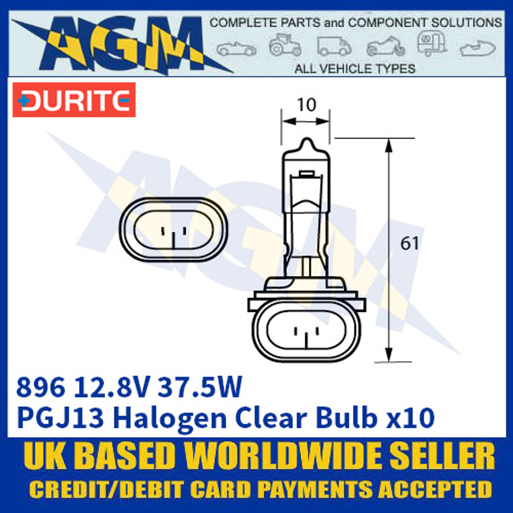 Durite 8-008-96 896 12.8 Volt 37.5 Watt Halogen Clear Bulb - x10 Pack