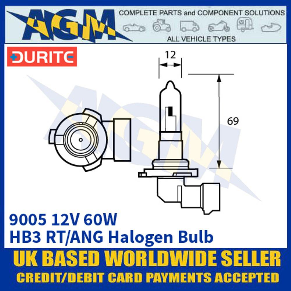 Durite 7-090-05 9005 12 Volt 60 Watt HB3 RT/ANG Halogen Bulb
