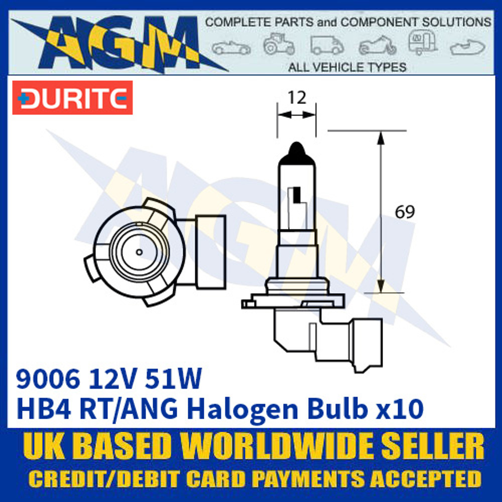 Durite 8-090-06 9006 12 Volt 51 Watt HB4 RT/ANG Halogen Bulb - x10 Pack