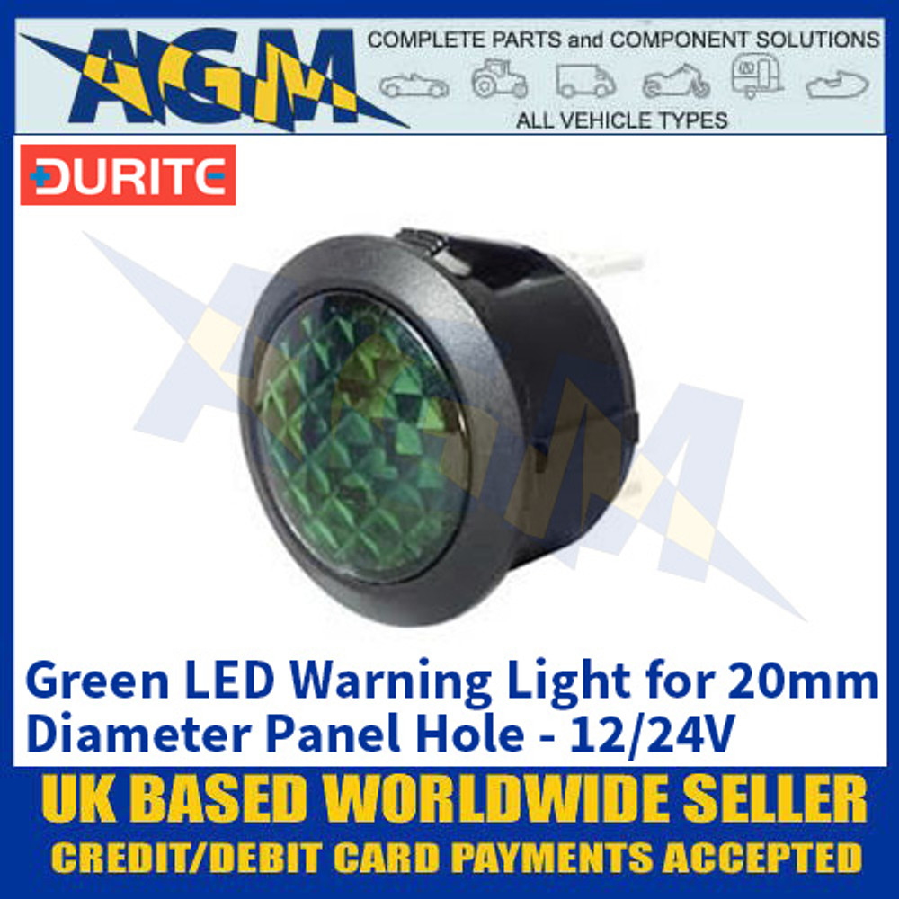 Durite 0-607-34 Green LED Warning Light for 20mm Diameter Panel Hole - 12/24V